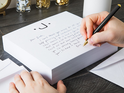 Black Ink: Initialed Notepad Stationery
