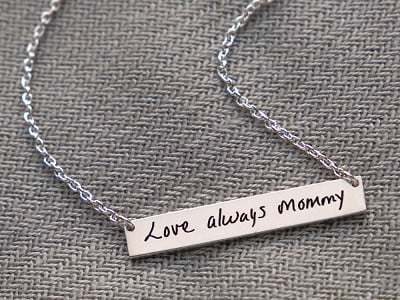 Etched: Custom Script Bar Necklace