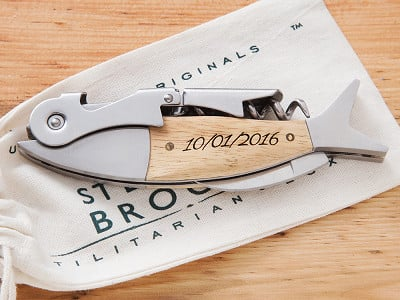 Sterling Brooke: Custom Engraved Fish Corkscrew
