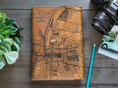 Tactile Craftworks: Etched Leather Map Journal