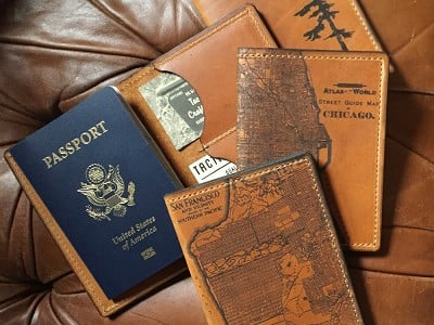 Tactile Craftworks: Etched Leather Map Passport Wallet