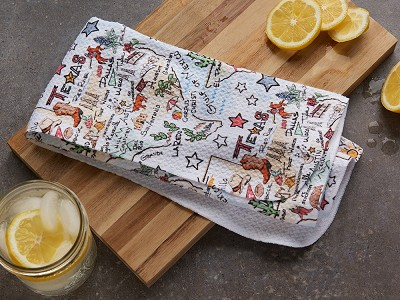 Fish Kiss: State Map Microfiber Tea Towel