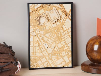 Stadium Map Art: Laser Cut Stadium City Map