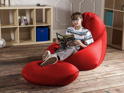 Jaxx Bean Bags: Nimbus Bean Bag Lounge Chair with Ottoman