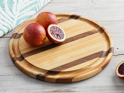 Dickinson Woodworking: Round Handcrafted Grooved Cutting Board