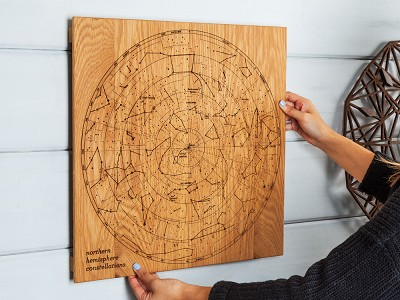 Citizen Woodshop: Engraved Wood Constellation Map