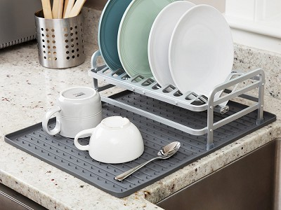 Ta-Da: Dish Rack & Silicone Drying Mat Set