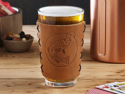 Oowee: Leather Pint Glass Sleeve Gift Set