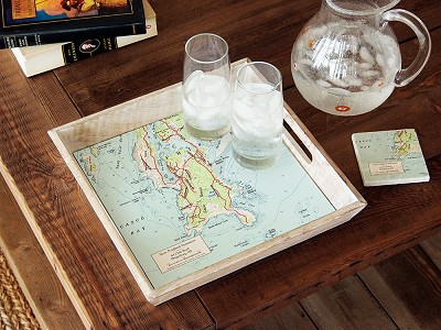 ScreenCraft Gifts: Wood-Framed Custom Map Serving Tray