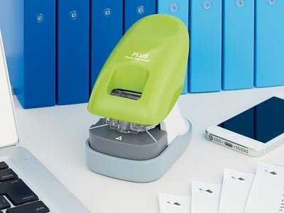 PLUS America: Paper Clinch Staple-Free Stapler