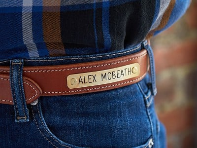 Clayton & Crume: Leather Belt with Bridle Nameplate