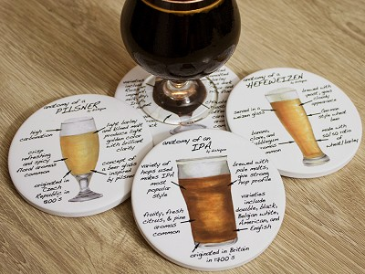 Dishique: Anatomy Coaster Set, Bar
