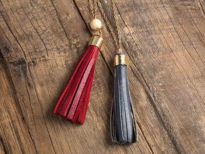 Faire Collection: Burgundy/Gray Tassel Necklace