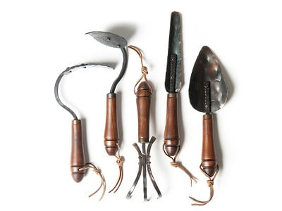 "Fisher Blacksmithing: Handmade 13"" Garden Tool Set"