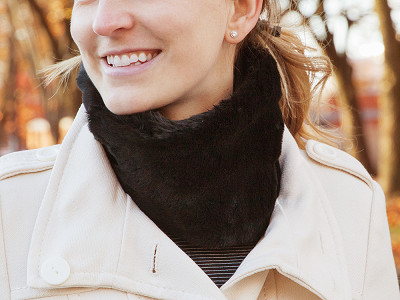 NEKZ: Faux Fur Scarf Alternative - Black