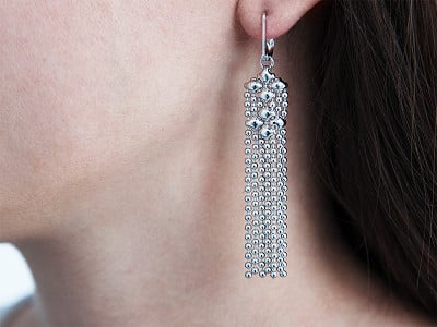Liquid Metal: Mesh Fringe Chandelier Earrings
