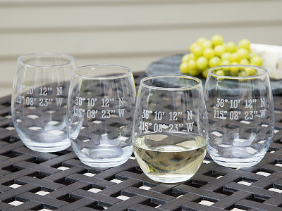 Susquehanna Glass Company: Sand Etched Latitude and Longitude Stemless Wine Glass