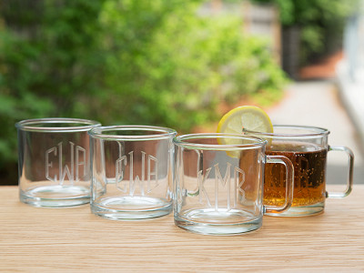 Susquehanna Glass Company: Hand Cut Monogram Camp Mug - Set of 4