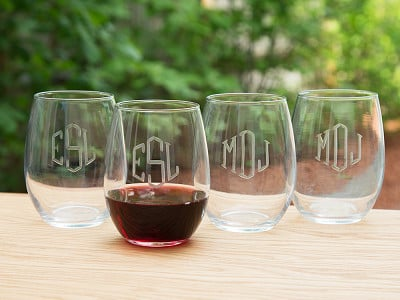 Susquehanna Glass Company: Hand Cut Monogram Stemless Wine Glass - Set of 4