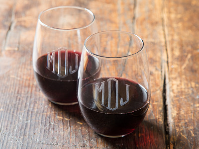 Susquehanna Glass Company: Hand Cut Monogram Stemless Wine Glass - Set of 2