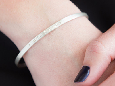Alloy Jewelry: Rounded Sterling Silver Quote Cuff