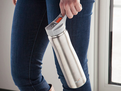 Eco Vessel: Silver Insulated Water Bottle