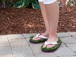 Synthetic Grass Sandals - White
