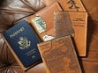 Etched Leather Map Passport Wallet