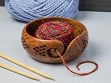 Handcrafted Geometric Wooden Yarn Bowl